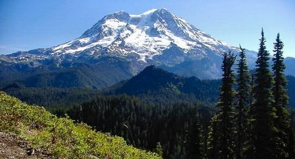 Mt Rainier as seen from Mount Beljica in the Glacier View Wilderness