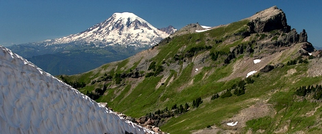 Mt Rainier rises behind Johnson Point as seen from the Hawkeye Point trail in the Goat Rocks Wilderness