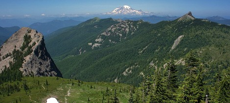 Looking north toward Mt Rainier from the summit of Jumbo Peak in the Gifford Pinchot National Forest