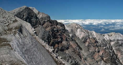 The summit of Mount St Helens in the Mount St Helens National Volcanic Area