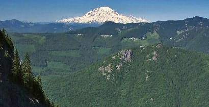 Mt Adams as seen from the summit of Tongue Mountain in the Gifford Pinchot National Forest