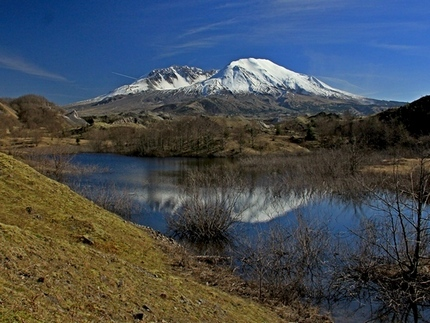 View of Mt St Helens from a pond near the Hummocks trail