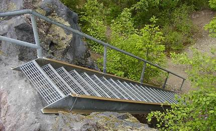 One of many ladders on the Lava Canyon trail of the Mt St Helens National Volcanic Area