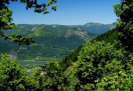 Looking north across the Columbia River Gorge from the Nesmith Point trail