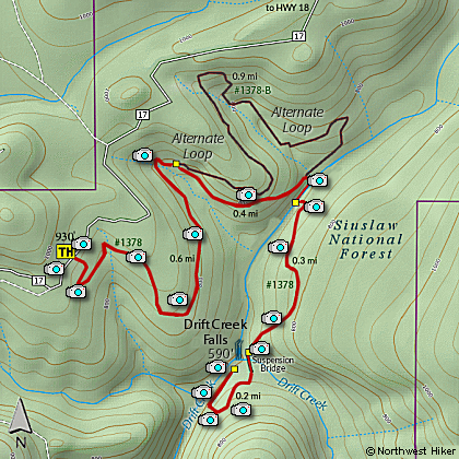 Map of Drift Creek Falls Hike
