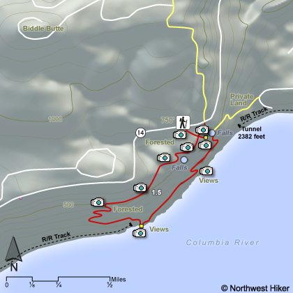 Cape Horn Waterfalls Hike map