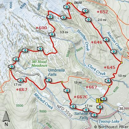 Umbrella Falls Sahalie Falls Mt Hood Meadows Hike - Oregon hiking trails map